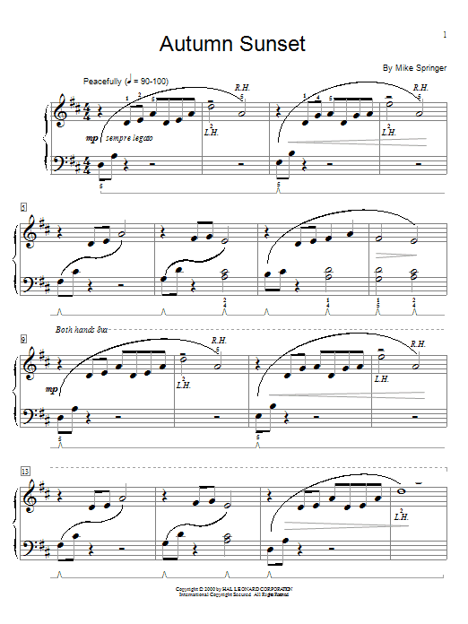 Mike Springer Autumn Sunset sheet music notes and chords. Download Printable PDF.