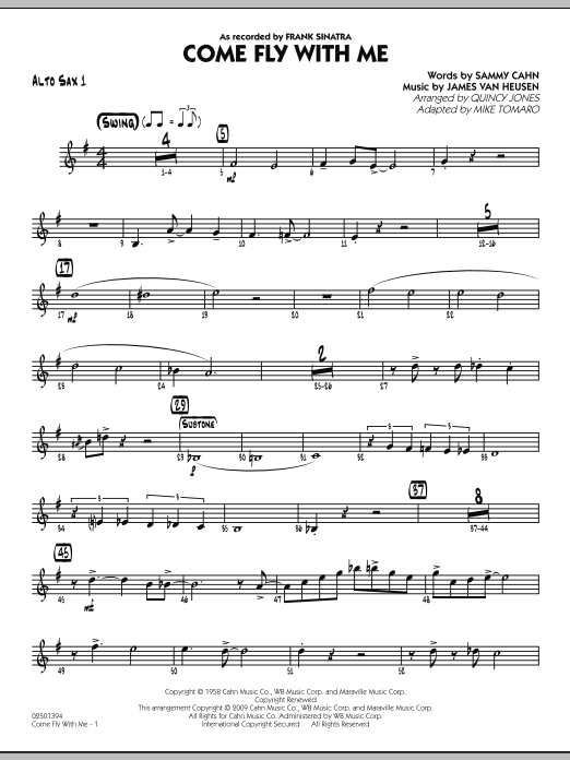 Mike Tomaro Come Fly With Me - Alto Sax 1 sheet music notes and chords. Download Printable PDF.