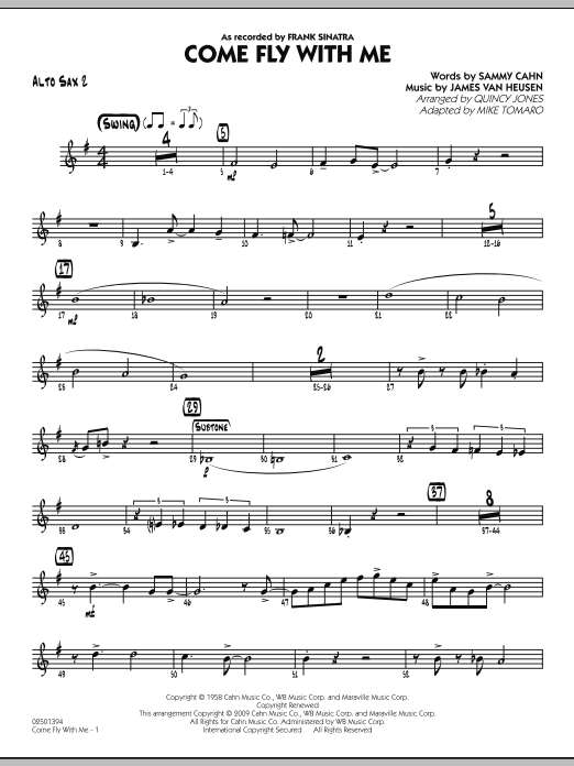 Mike Tomaro Come Fly With Me - Alto Sax 2 sheet music notes and chords. Download Printable PDF.