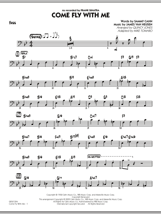Mike Tomaro Come Fly With Me - Bass sheet music notes and chords. Download Printable PDF.