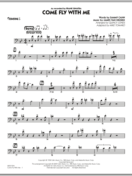 Mike Tomaro Come Fly With Me - Trombone 1 sheet music notes and chords. Download Printable PDF.