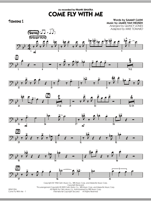 Mike Tomaro Come Fly With Me - Trombone 2 sheet music notes and chords. Download Printable PDF.
