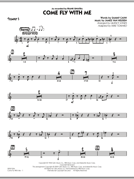 Mike Tomaro Come Fly With Me - Trumpet 3 sheet music notes and chords. Download Printable PDF.