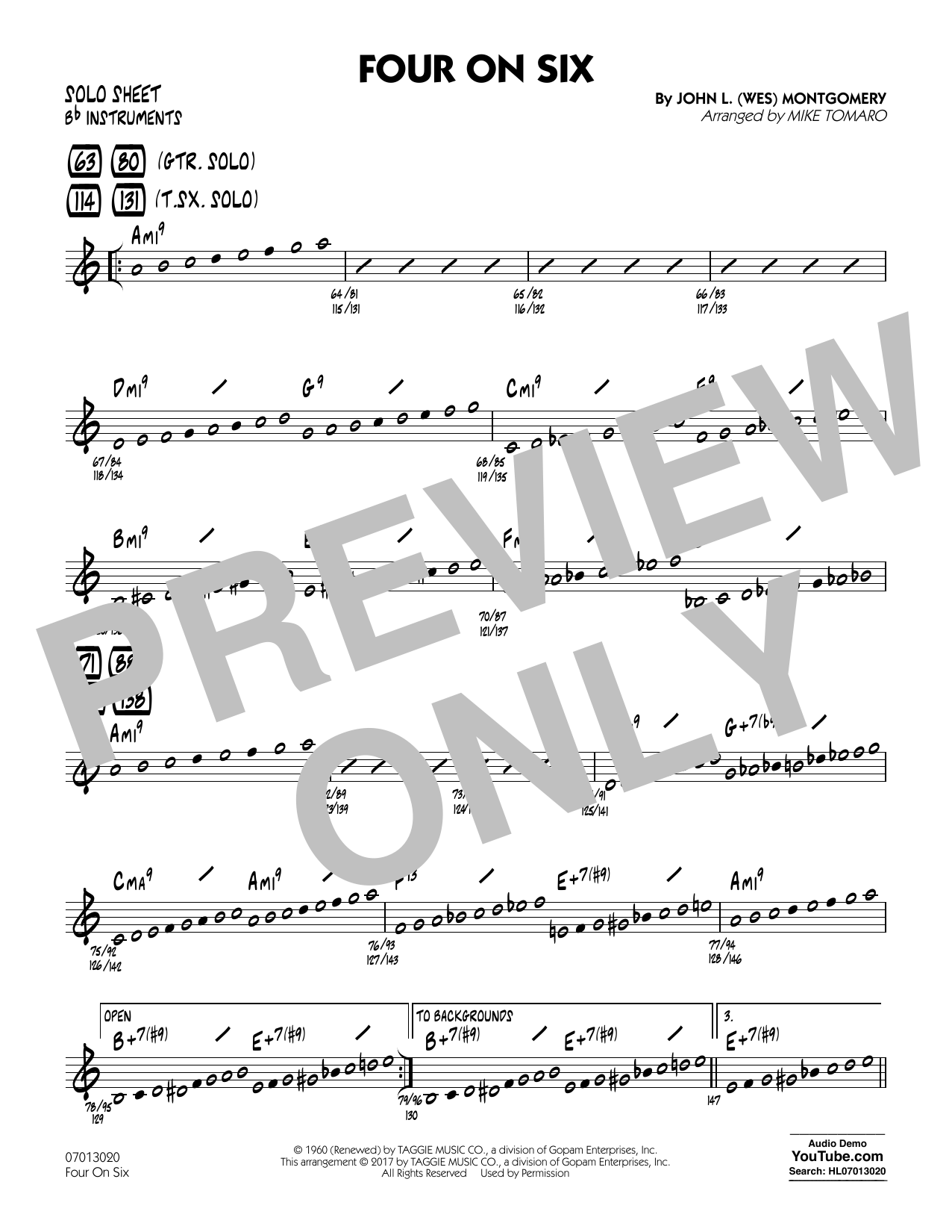 Mike Tomaro Four on Six - Bb Solo Sheet sheet music notes and chords. Download Printable PDF.