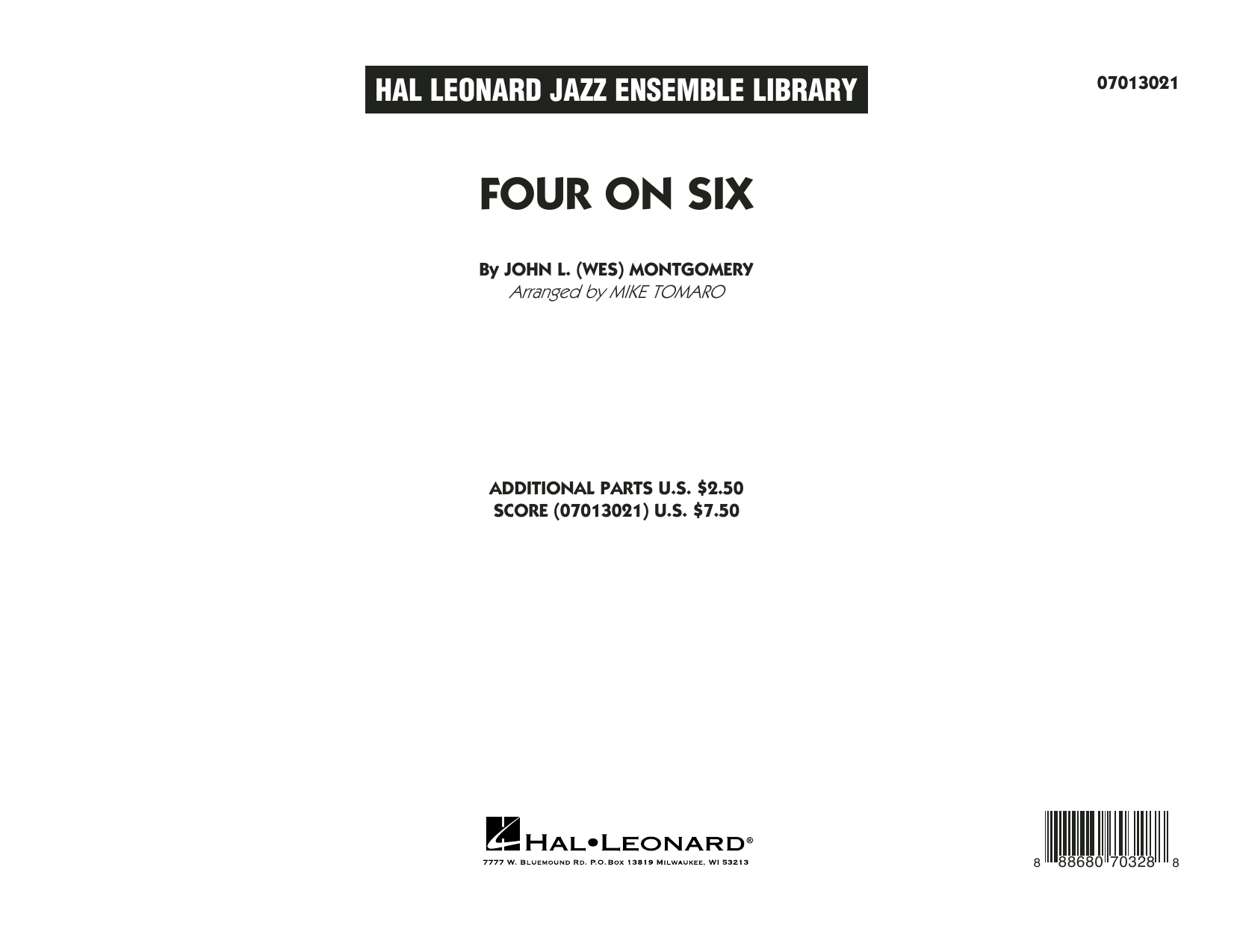 Mike Tomaro Four on Six - Conductor Score (Full Score) sheet music notes and chords. Download Printable PDF.