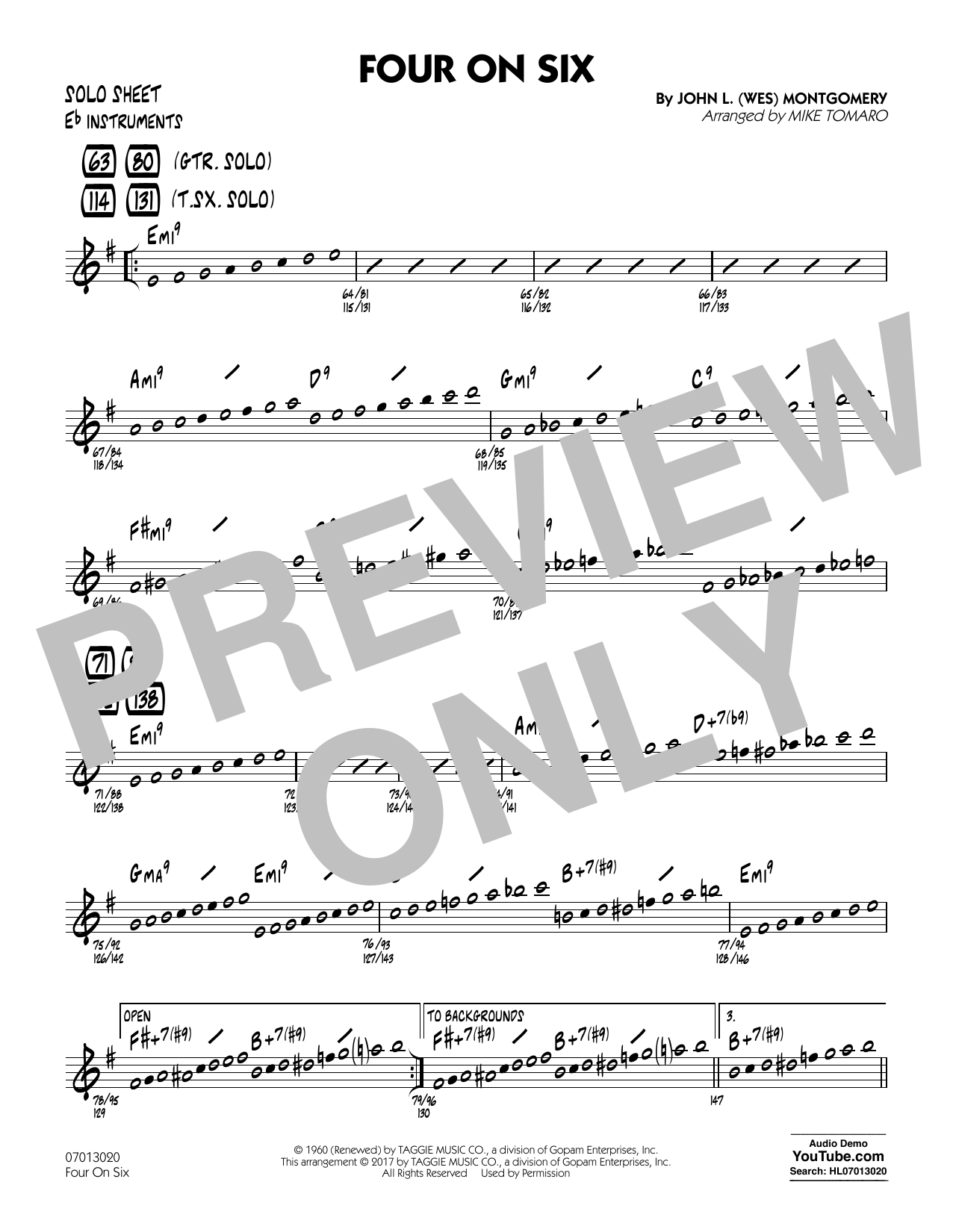 Mike Tomaro Four on Six - Eb Solo Sheet sheet music notes and chords. Download Printable PDF.