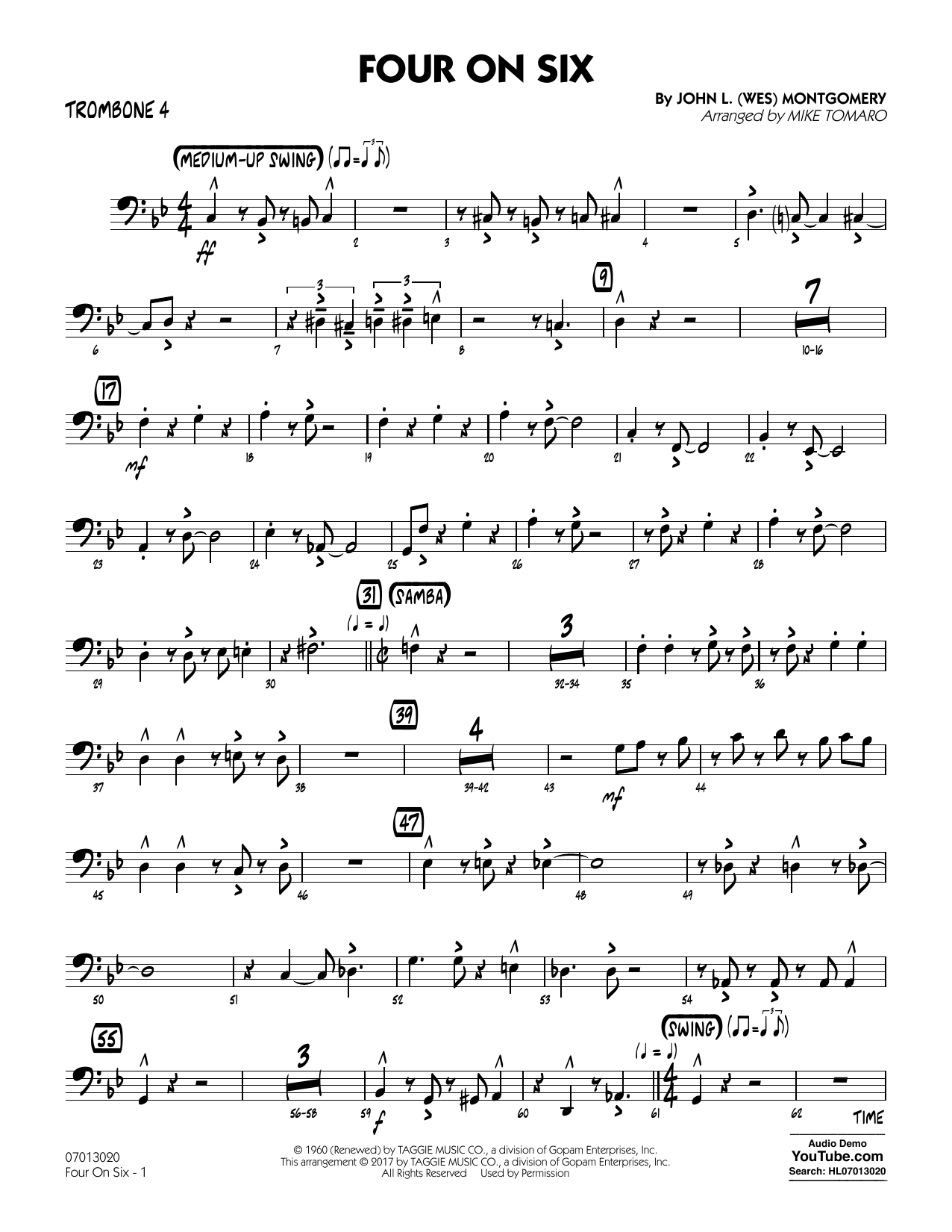 Mike Tomaro Four on Six - Trombone 4 sheet music notes and chords. Download Printable PDF.
