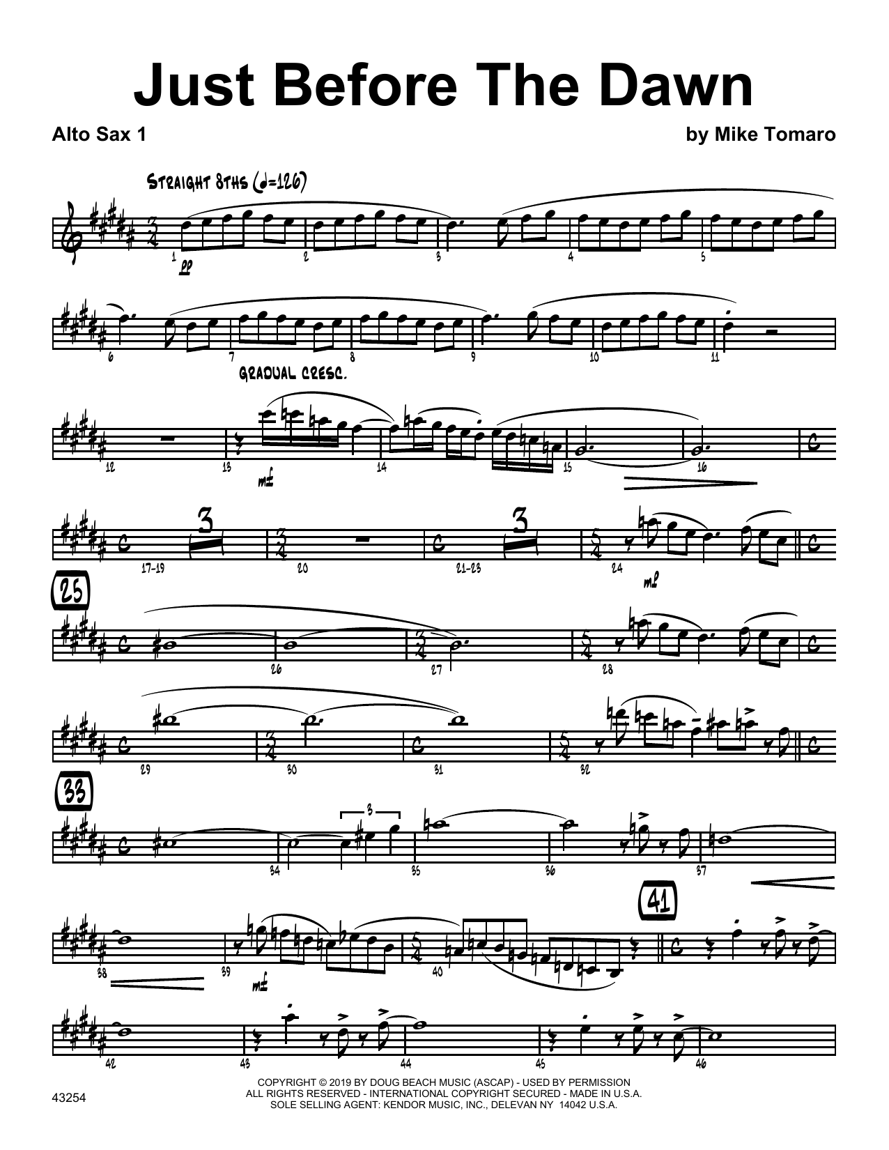 Mike Tomaro Just Before The Dawn - 1st Eb Alto Saxophone sheet music notes and chords. Download Printable PDF.