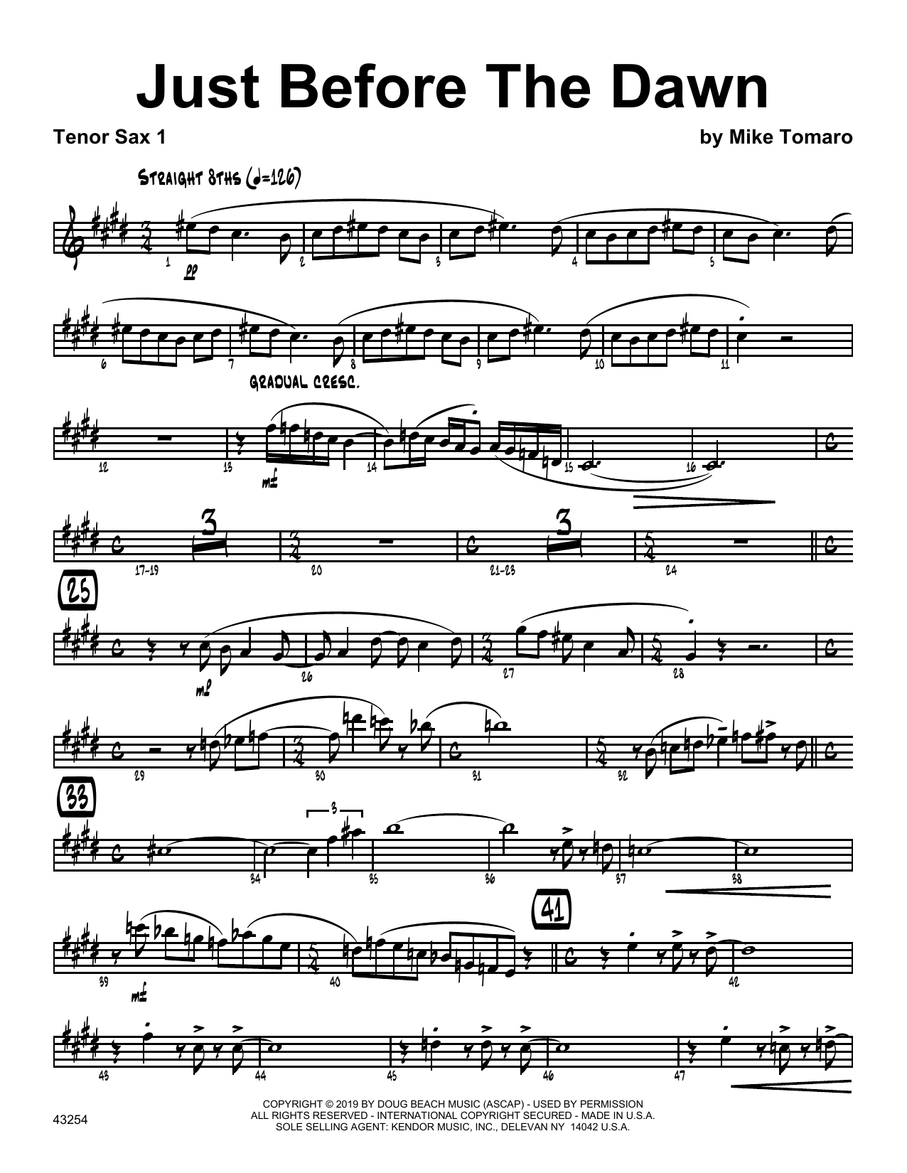 Mike Tomaro Just Before The Dawn - 1st Tenor Saxophone sheet music notes and chords. Download Printable PDF.