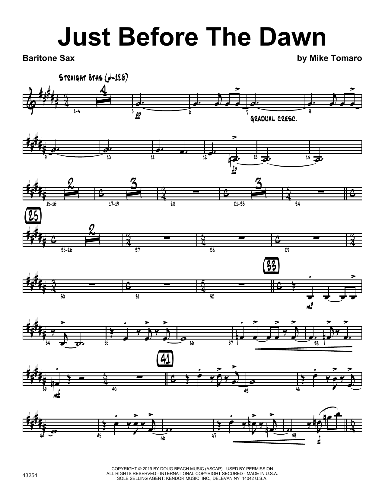 Mike Tomaro Just Before The Dawn - Eb Baritone Saxophone sheet music notes and chords. Download Printable PDF.