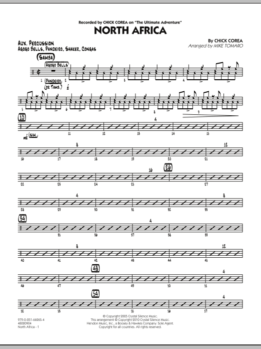 Mike Tomaro North Africa - Aux Percussion sheet music notes and chords. Download Printable PDF.