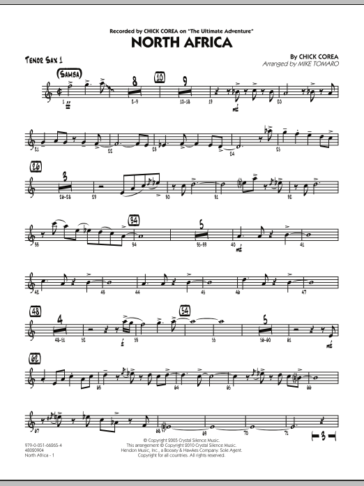 Mike Tomaro North Africa - Tenor Sax 1 sheet music notes and chords. Download Printable PDF.