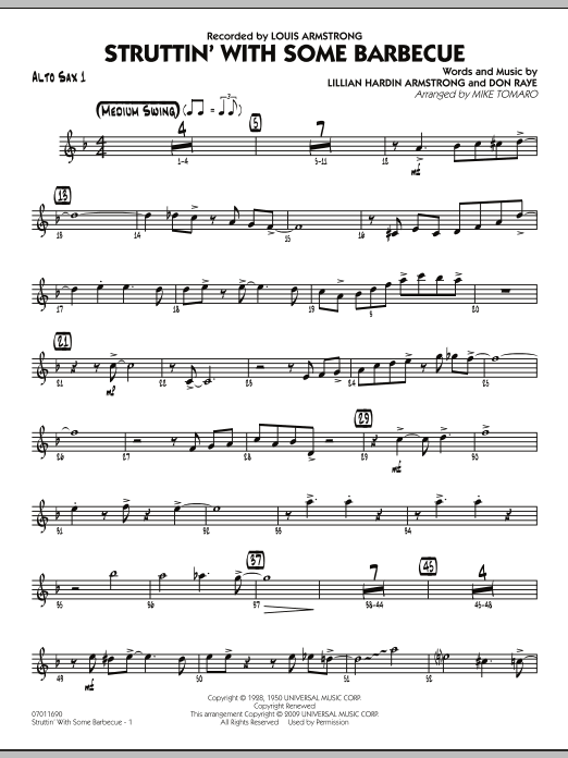 Mike Tomaro Struttin' with Some Barbecue - Alto Sax 1 sheet music notes and chords. Download Printable PDF.