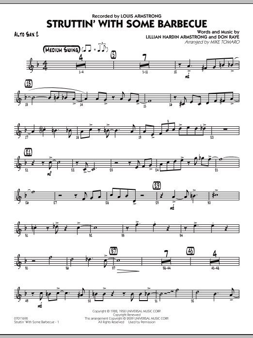 Mike Tomaro Struttin' with Some Barbecue - Alto Sax 2 sheet music notes and chords. Download Printable PDF.