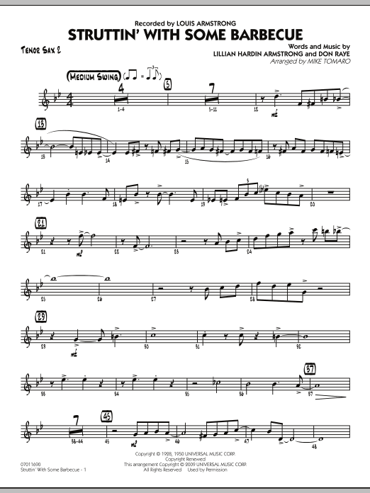 Mike Tomaro Struttin' with Some Barbecue - Tenor Sax 2 sheet music notes and chords. Download Printable PDF.