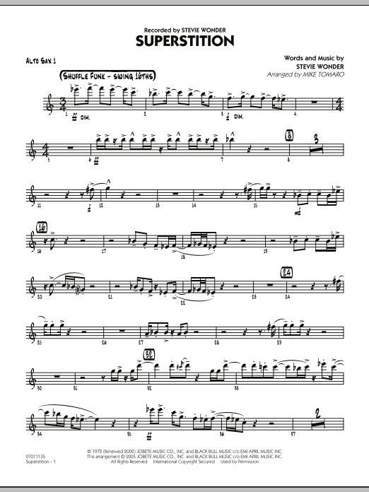 Mike Tomaro Superstition - Alto Sax 1 sheet music notes and chords. Download Printable PDF.