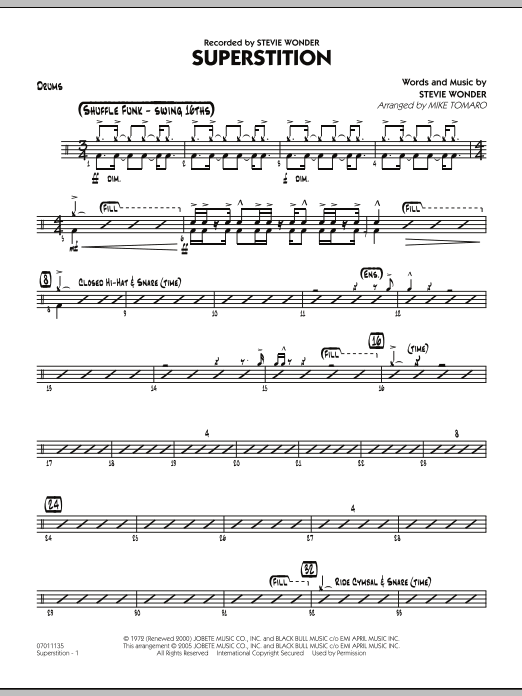 Mike Tomaro Superstition - Drums sheet music notes and chords. Download Printable PDF.