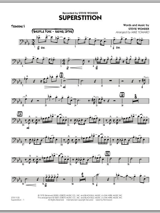 Mike Tomaro Superstition - Trombone 3 sheet music notes and chords. Download Printable PDF.