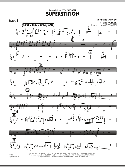 Mike Tomaro Superstition - Trumpet 3 sheet music notes and chords. Download Printable PDF.