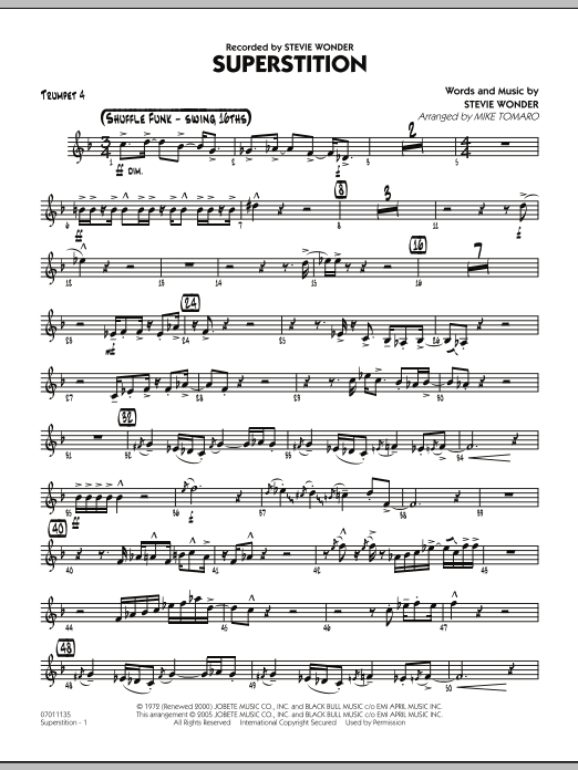 Mike Tomaro Superstition - Trumpet 4 sheet music notes and chords. Download Printable PDF.