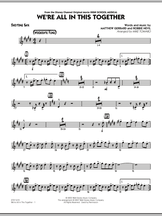 Mike Tomaro We're All In This Together (from High School Musical) - Baritone Sax sheet music notes and chords. Download Printable PDF.