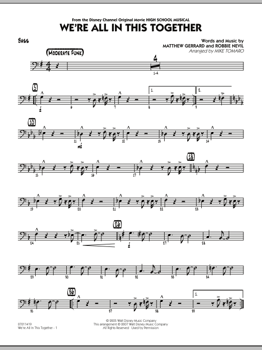 Mike Tomaro We're All In This Together (from High School Musical) - Bass sheet music notes and chords. Download Printable PDF.