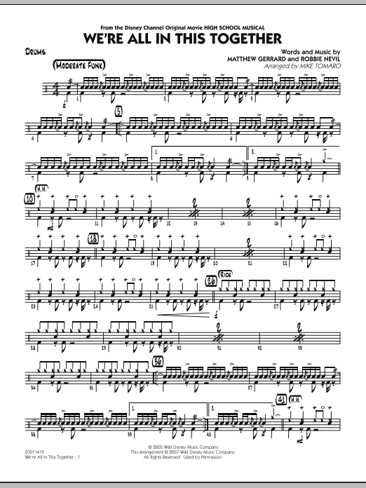 Mike Tomaro We're All In This Together (from High School Musical) - Drums sheet music notes and chords. Download Printable PDF.