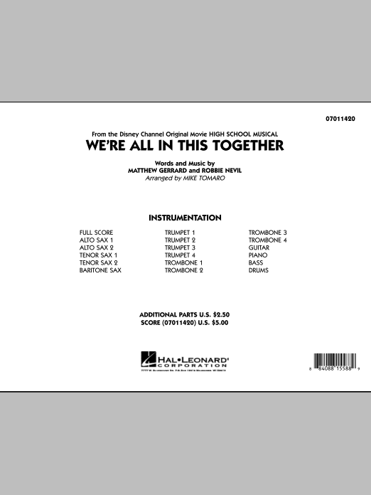 Mike Tomaro We're All In This Together (from High School Musical) - Full Score sheet music notes and chords. Download Printable PDF.