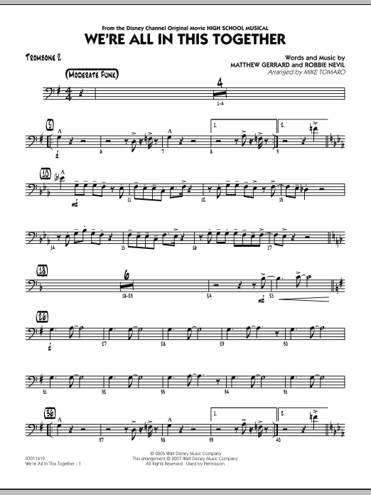 Mike Tomaro We're All In This Together (from High School Musical) - Trombone 2 sheet music notes and chords. Download Printable PDF.