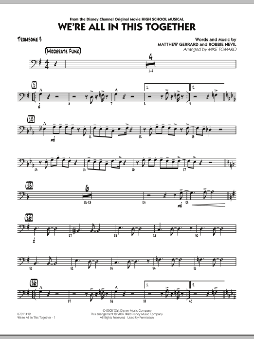 Mike Tomaro We're All In This Together (from High School Musical) - Trombone 3 sheet music notes and chords. Download Printable PDF.