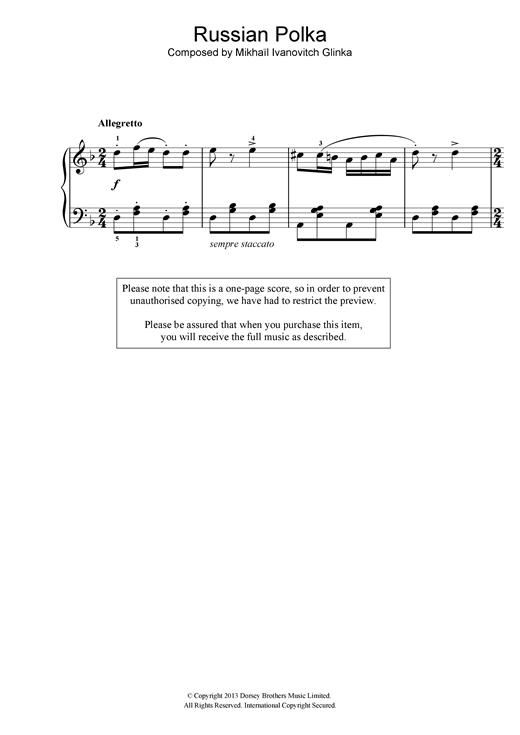 Mikhail Glinka Russian Polka sheet music notes and chords. Download Printable PDF.