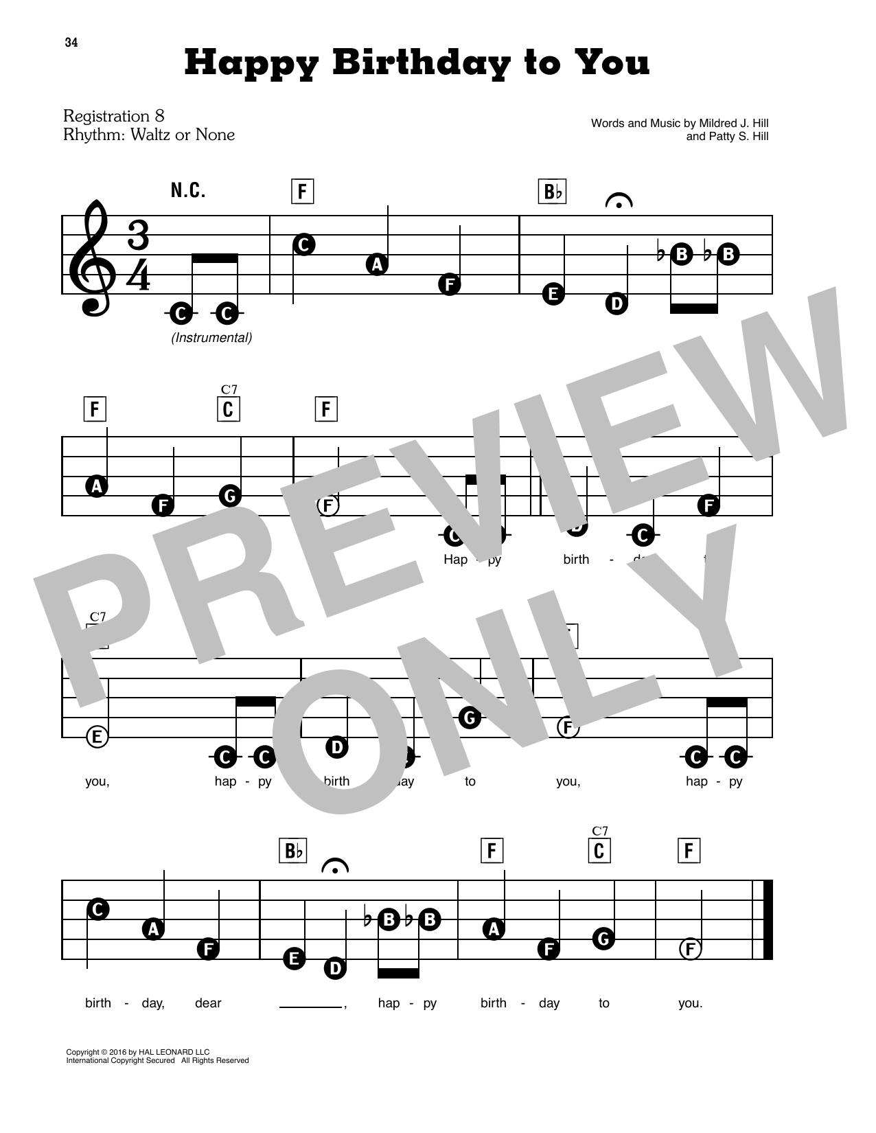 Mildred J. Hill & Patty S. Hill Happy Birthday To You sheet music notes and chords. Download Printable PDF.