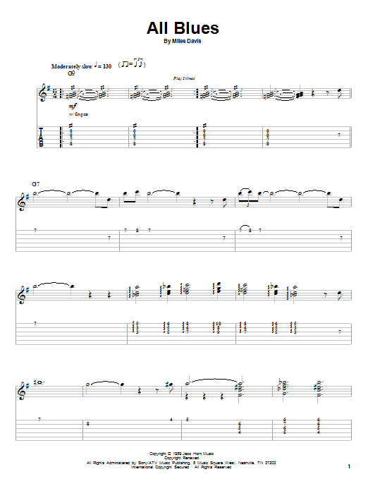 Miles Davis All Blues sheet music notes and chords. Download Printable PDF.