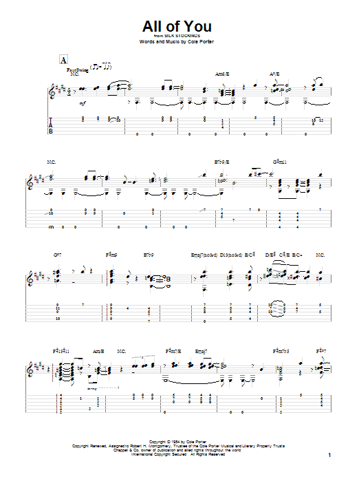 Miles Davis All Of You sheet music notes and chords. Download Printable PDF.