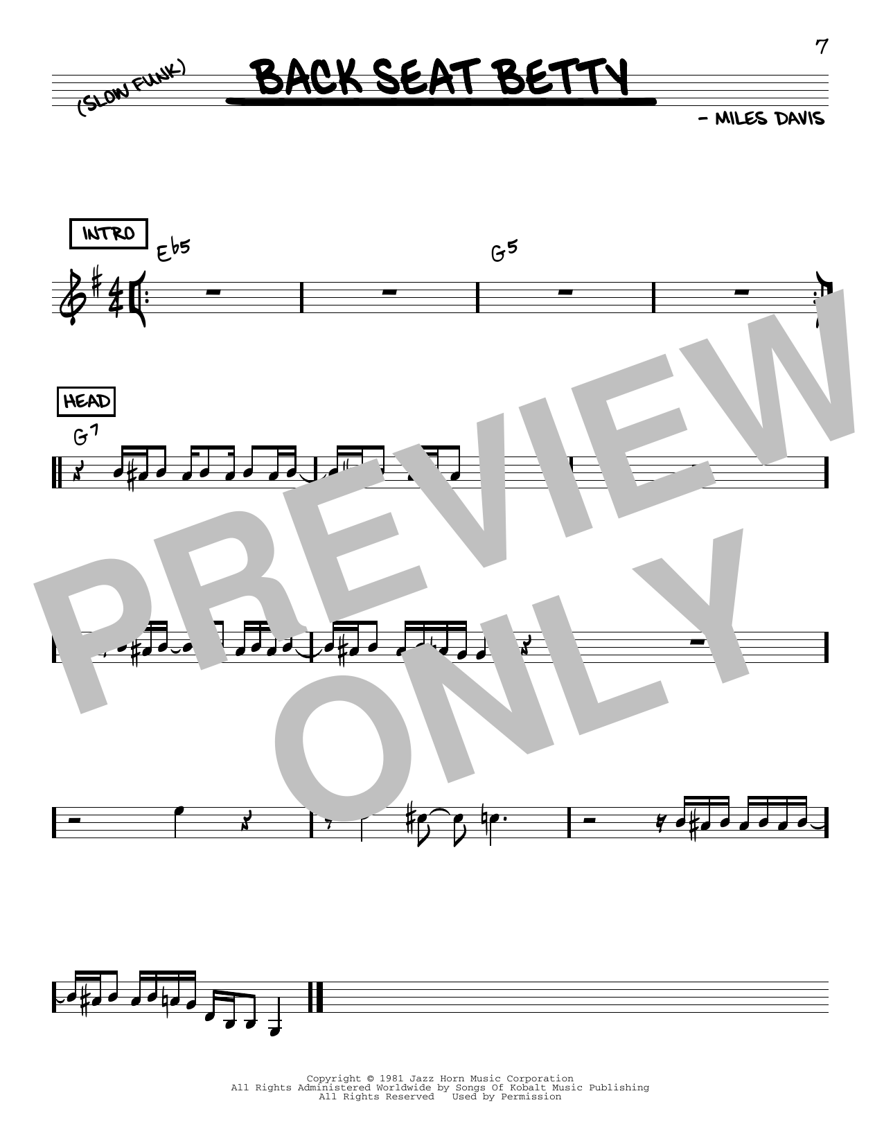 Miles Davis Back Seat Betty sheet music notes and chords. Download Printable PDF.