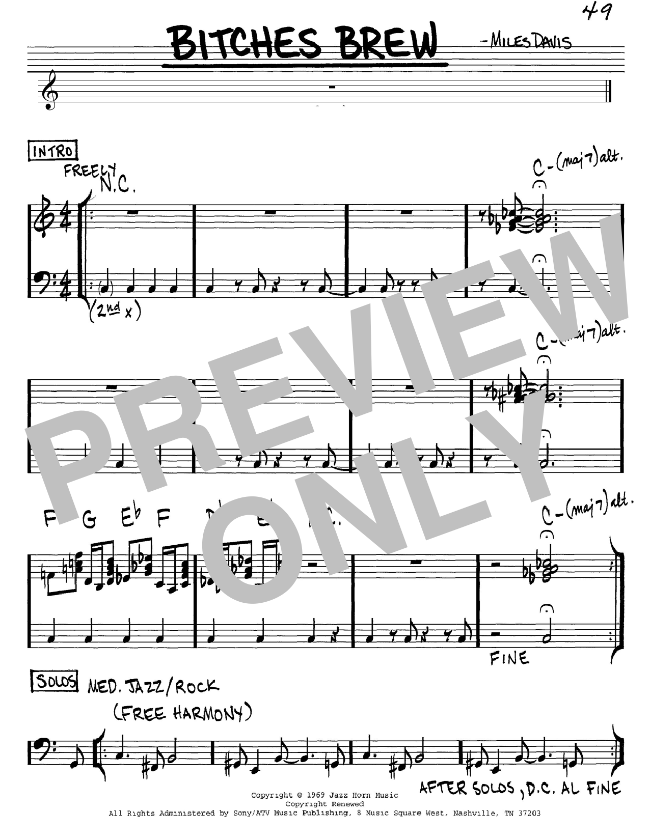 Miles Davis Bitches Brew sheet music notes and chords. Download Printable PDF.