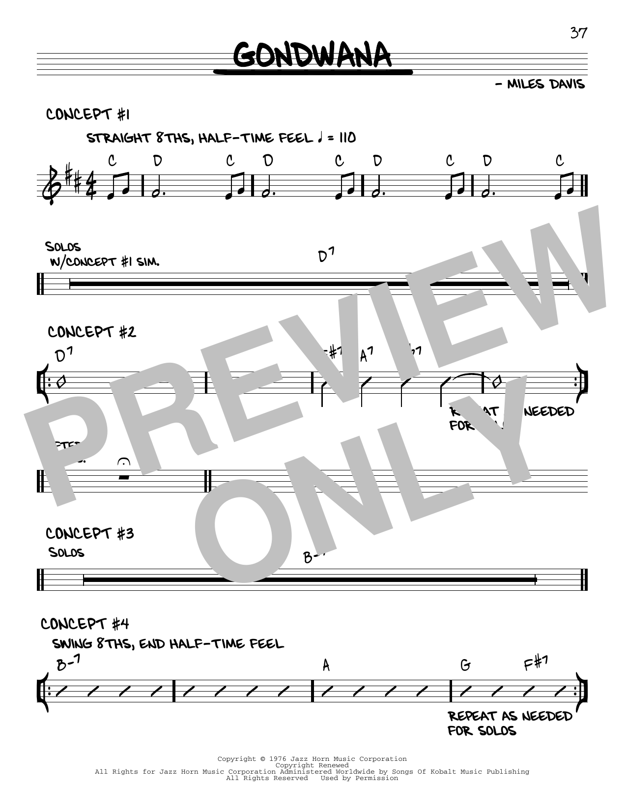 Miles Davis Gondwana sheet music notes and chords. Download Printable PDF.
