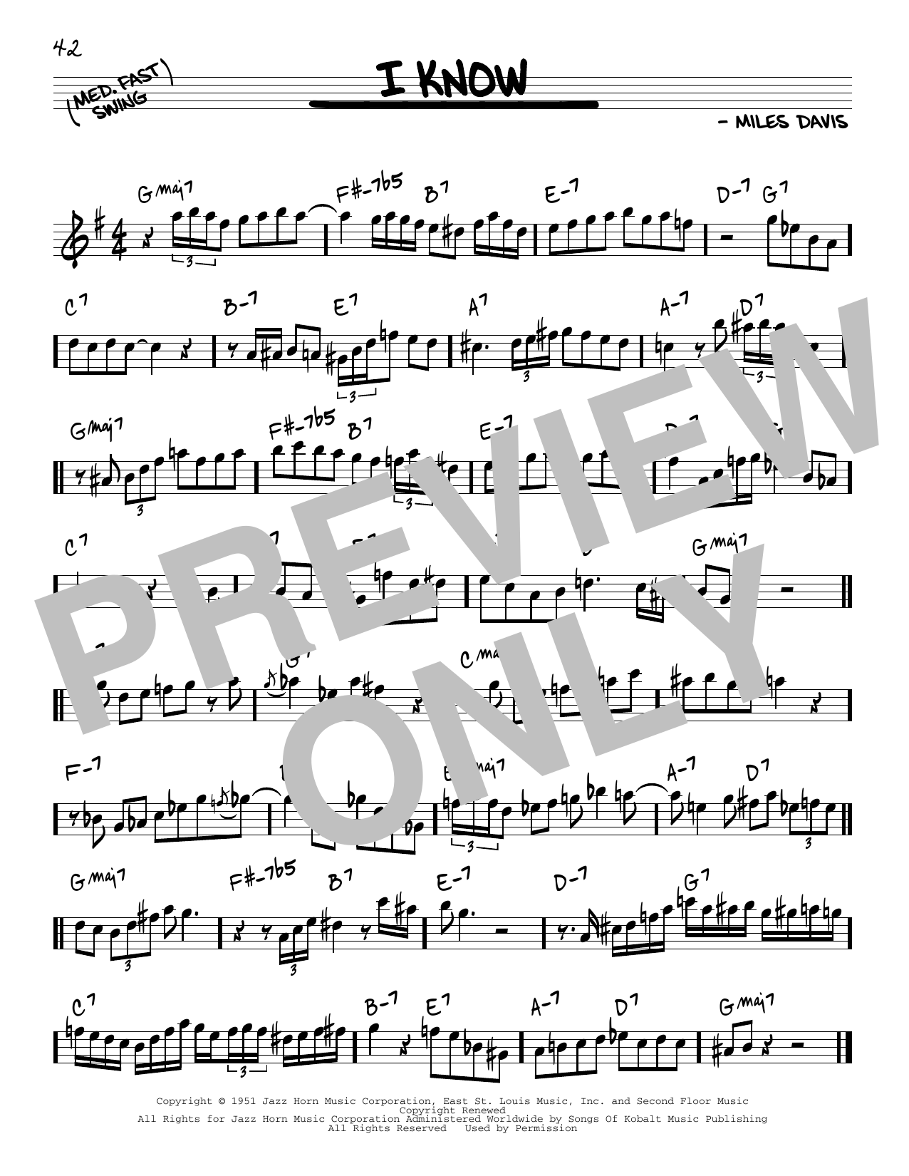 Miles Davis I Know sheet music notes and chords. Download Printable PDF.