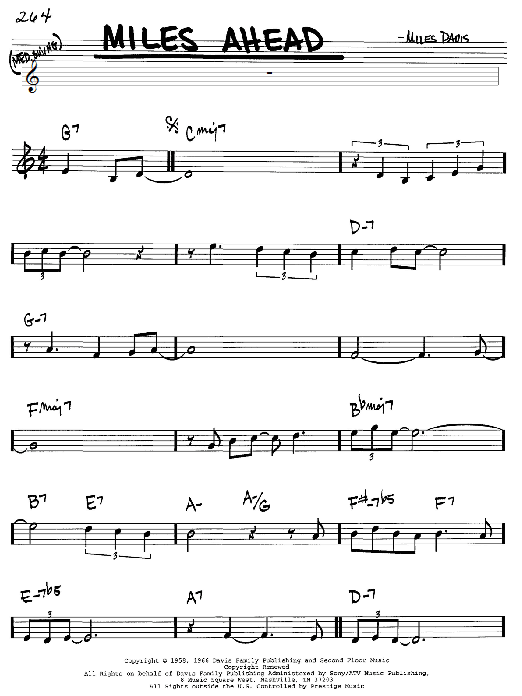 Miles Davis Miles Ahead sheet music notes and chords. Download Printable PDF.