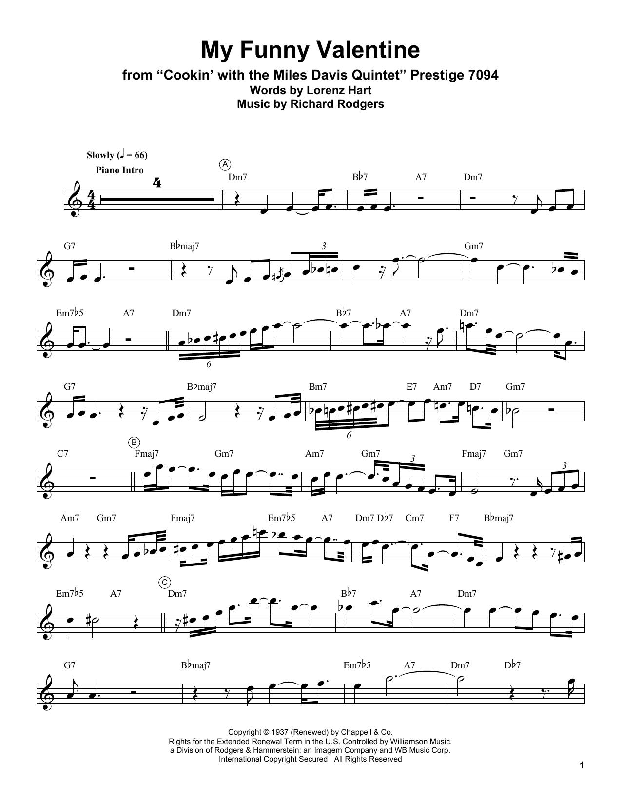 Miles Davis My Funny Valentine Sheet Music Notes, Chords   Download  Printable Trumpet Transcription PDF Score   SKU 15