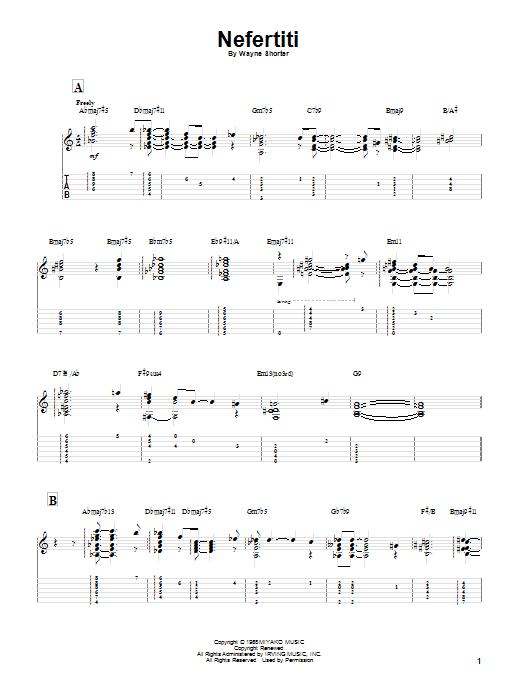 Miles Davis Nefertiti sheet music notes and chords. Download Printable PDF.