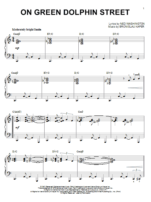 Miles Davis On Green Dolphin Street sheet music notes and chords. Download Printable PDF.