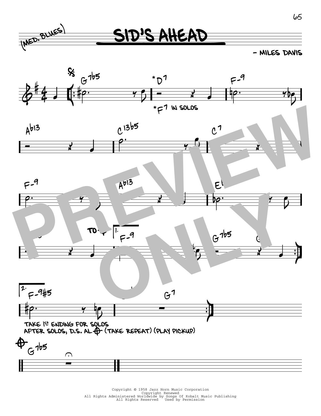 Miles Davis Sid's Ahead sheet music notes and chords. Download Printable PDF.