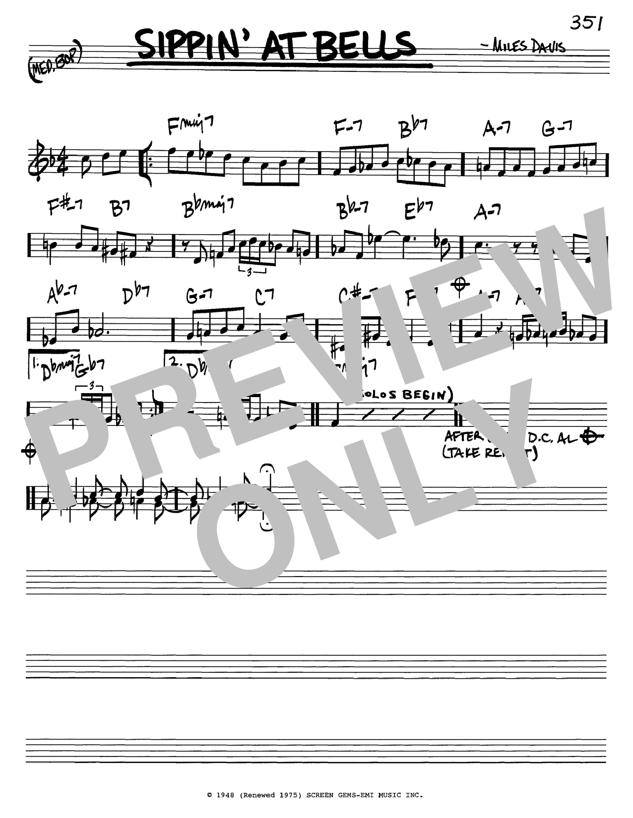 Miles Davis Sippin' At Bells sheet music notes and chords. Download Printable PDF.