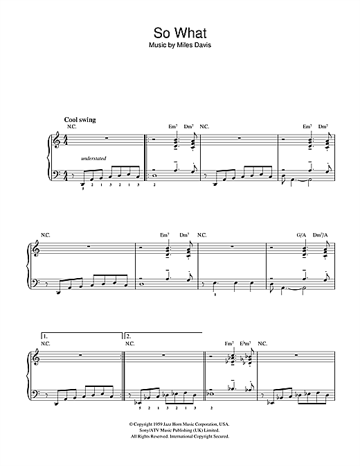 Miles Davis So What sheet music notes and chords. Download Printable PDF.
