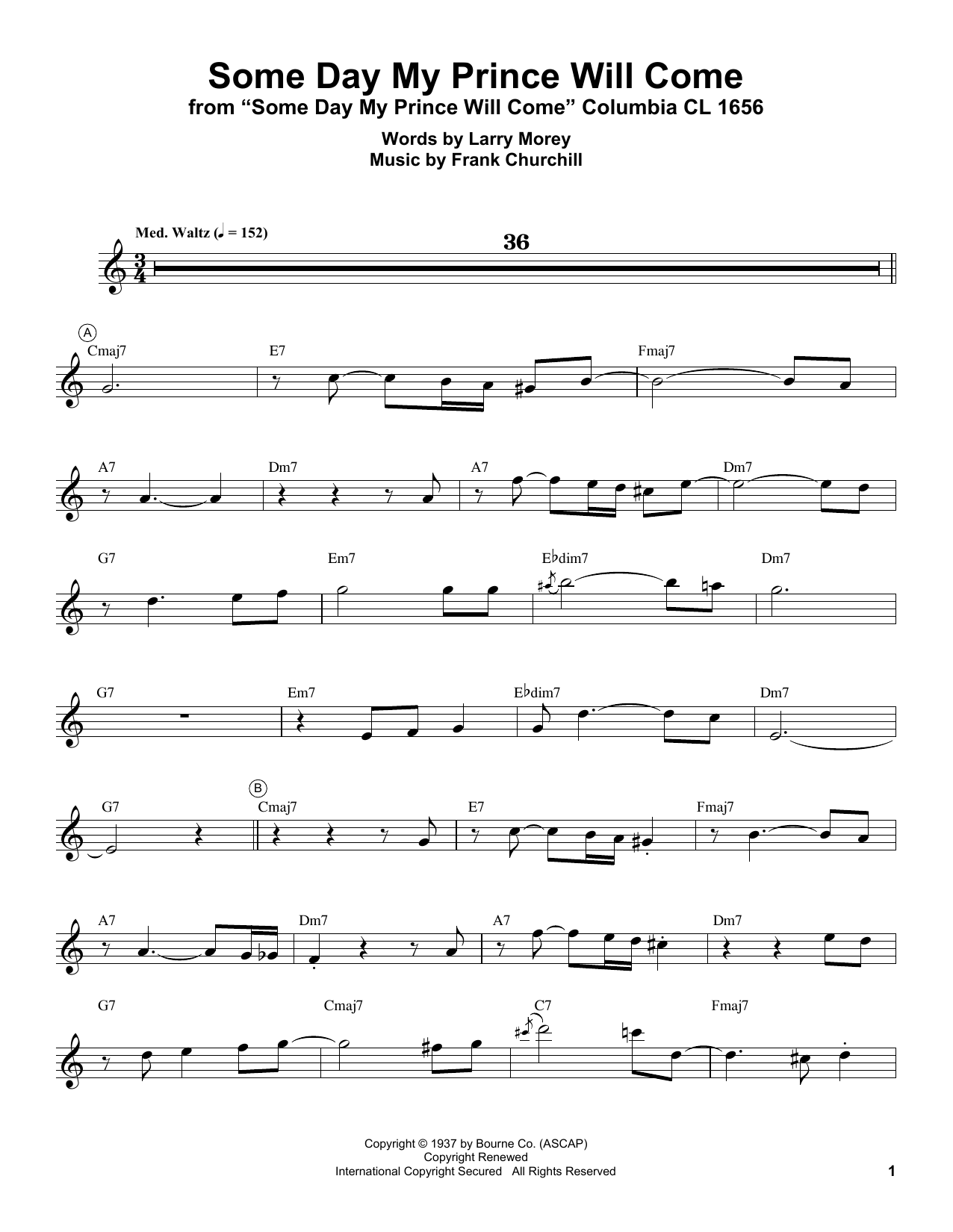 Miles Davis Some Day My Prince Will Come Sheet Music Pdf Notes Chords Disney Score Trumpet Transcription Download Printable Sku 250717