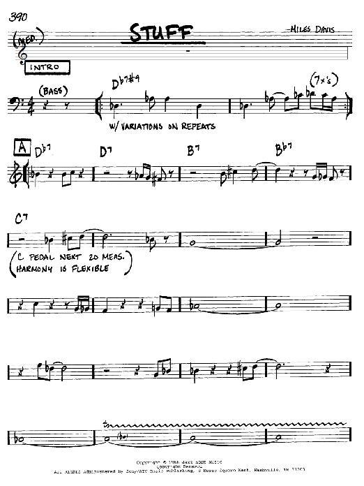 Miles Davis Stuff sheet music notes and chords. Download Printable PDF.