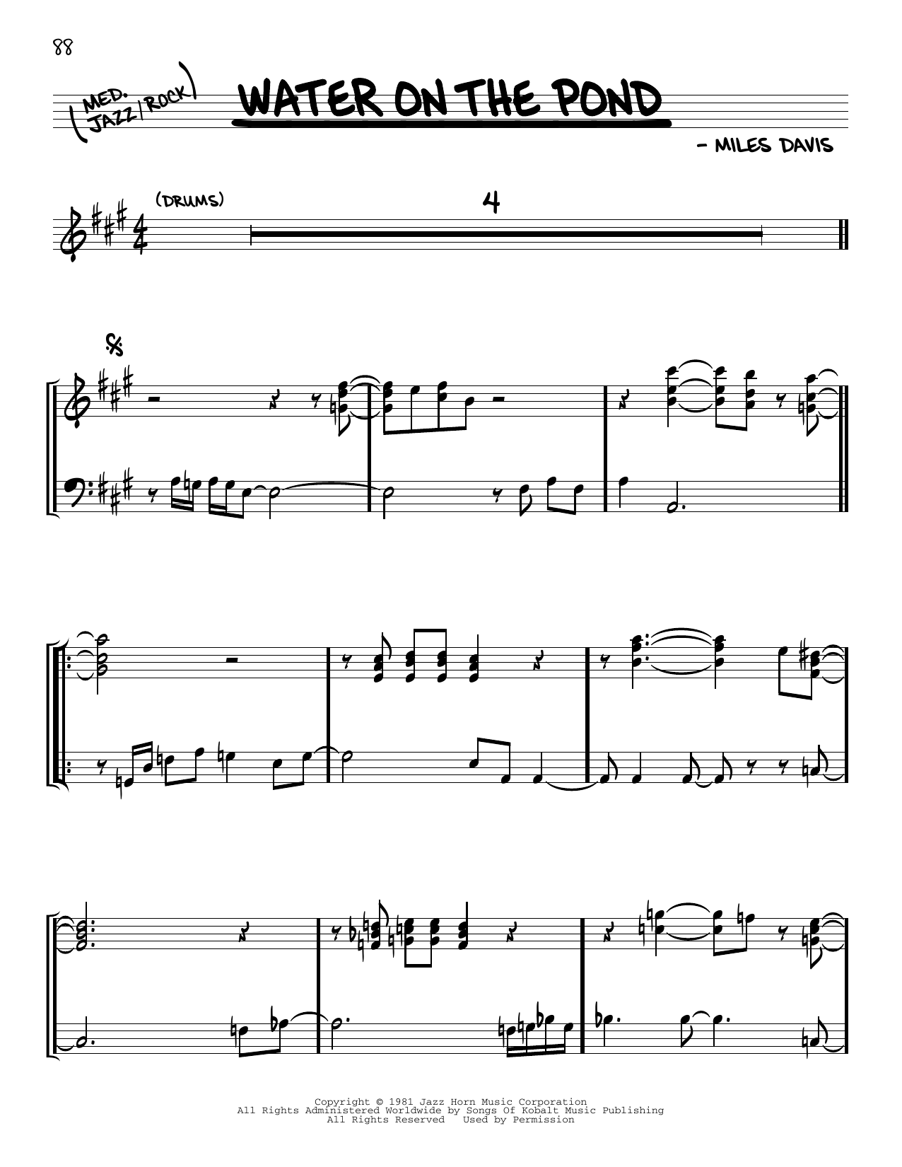 Miles Davis Water On The Pond sheet music notes and chords. Download Printable PDF.