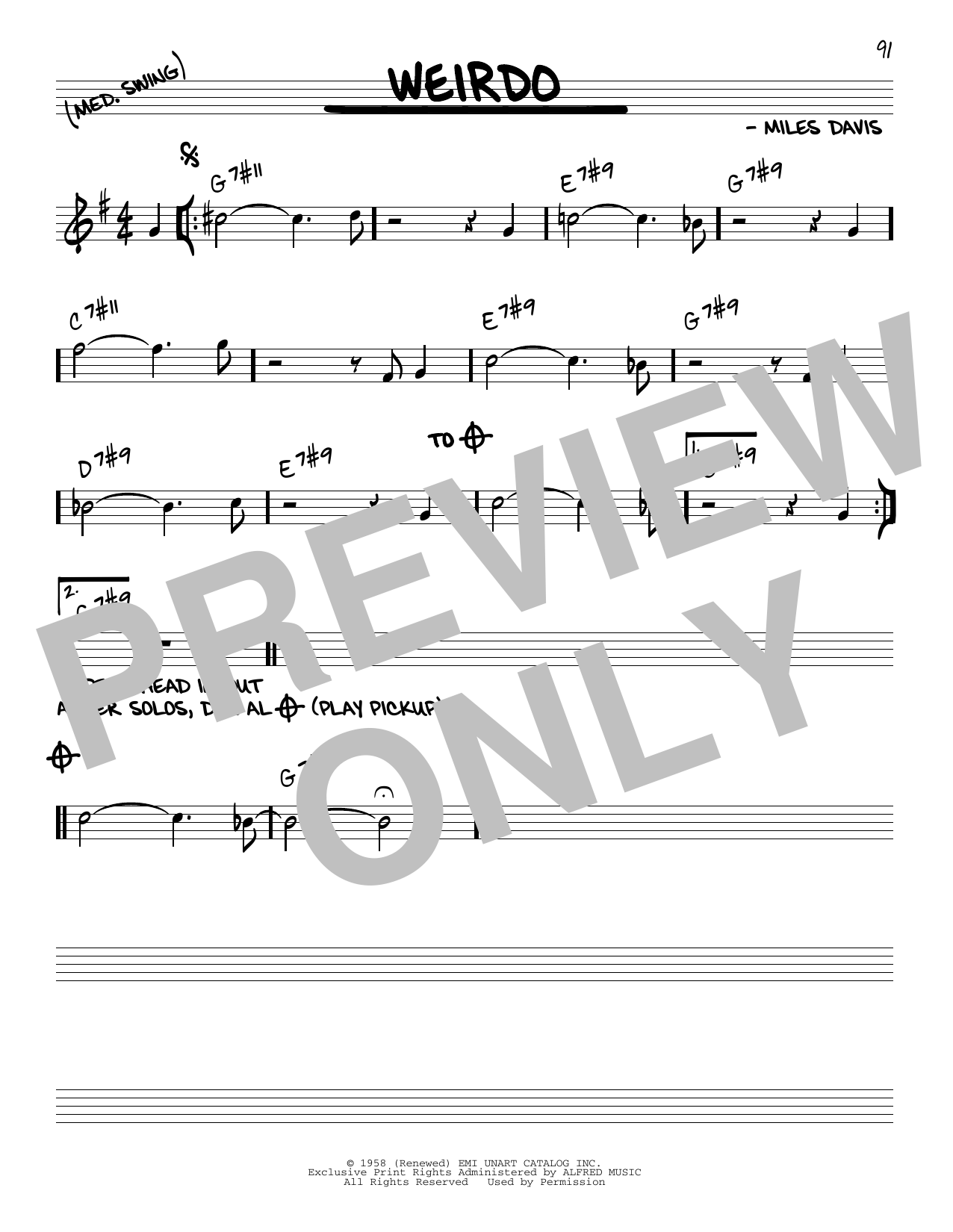 Miles Davis Weirdo sheet music notes and chords. Download Printable PDF.