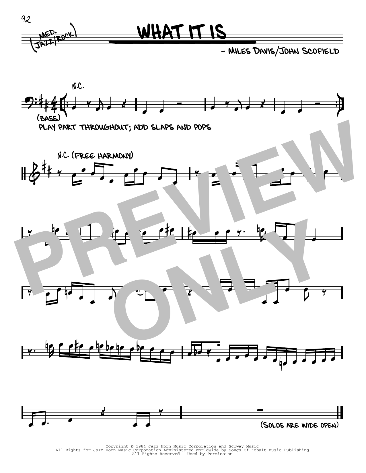 Miles Davis What It Is sheet music notes and chords. Download Printable PDF.